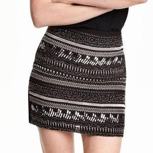 H&M Black Embellishment sequin beaded mini skirt